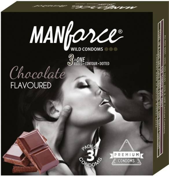 MANFORCE Wild 3 in 1s, Chocolate Flavoured Condom