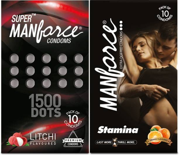 MANFORCE Combo Pack (Orange & Litchi Flavoured) Condom