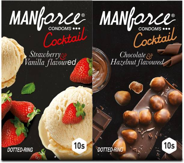 MANFORCE Cocktail Combo Pack (Hazelnut & Chocolate and Strawberry & Vanilla) Condom