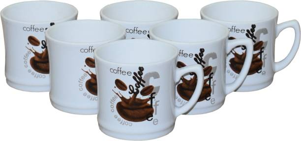 KC Somny Pack of 6 Ceramic Coffee Cup & Tea Cup Set of 6 (1GH9AD) 120ml
