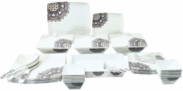 Flipkart SmartBuy Pack of 46 Melamin Traditional Brown And Beige Printed Dinner Set