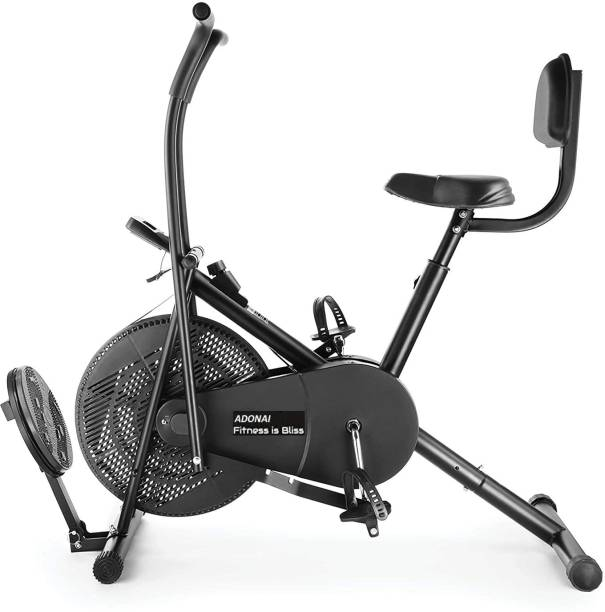 Adonai Air Bike with Twister Board & BackSupport Moving Arms for Cardio Full Body Workout Upright Stationary Exercise Bike