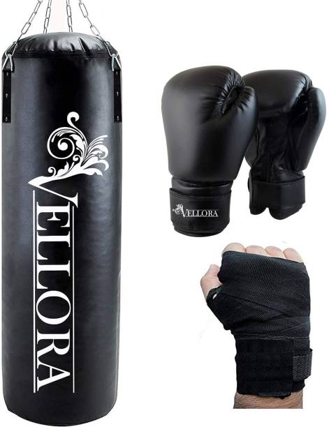 Vellora Unfilled Boxing Bag 4ft with Wrap + Boxing Gloves Boxing Kit