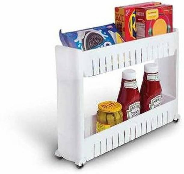 VHKD 2 Tier Kitchen Storage Organizer Rack Holder with Wheels Plastic Kitchen Trolley