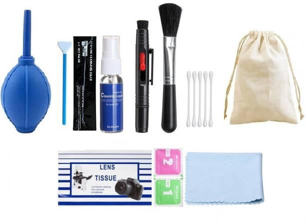 blutek Reliable 10 IN 1 Multi-Purpose Cleaning Kit for DSLR Cameras Sensor, Lenses, Binoculars, LCD, Laptops, Desktops, Keyboards, etc, Includes Cloth, Brush, Liquid Solution, Powerful Dust Blower, Cotton Swabs, Magic Lenspen ,Cleaning Tissue Lens Cleaner,Wet wipes,Dry wipes ,Sensor Cleaning Swab, Cotton Pouch Pack of 10)  Lens Cleaner