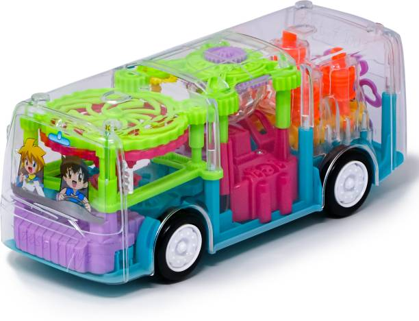 FIDDLERZ 360 Degree Rotating Transparent simulation Mechanical Bus with Sound & 3D Colourfull Lights Gear Transparent Bus Toy for 2-5 Year Kids-(Multicolor)