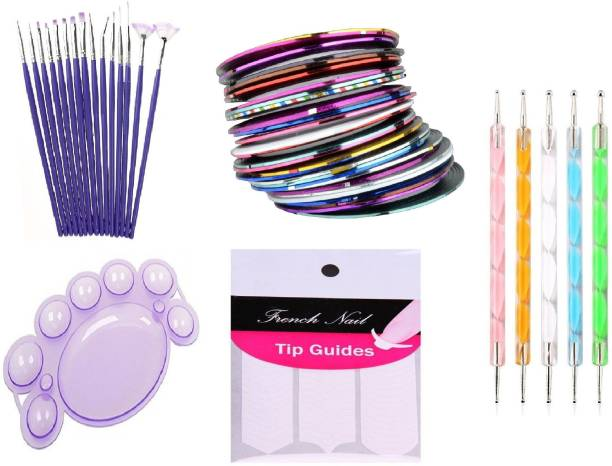 Royalkart Nail Art Paint Kit Of 15 Pieces Nail Art Paint Brushes With 5 Pieces 2 Way Marbleizing Dotting Pen, 1 Set Of Finger Tip Guide, 1 Palette And 10 Pieces Assorted Colours Nail Striping Tape