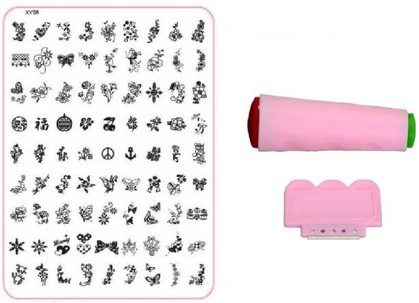 Royalkart Nail Art Stamping Jumbo Image Plate D.I.Y. With Double-Sided Stamper & Scraper(XY08)
