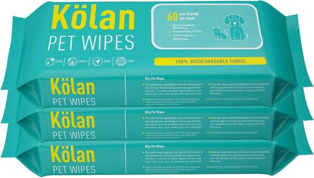 Kolan Eco-Friendly Pet Wipes for Dogs, Cats and other Pets (Fragrance Free Grooming Wipes) 60 Pcs/Pack Pet Ear Eye Wipes