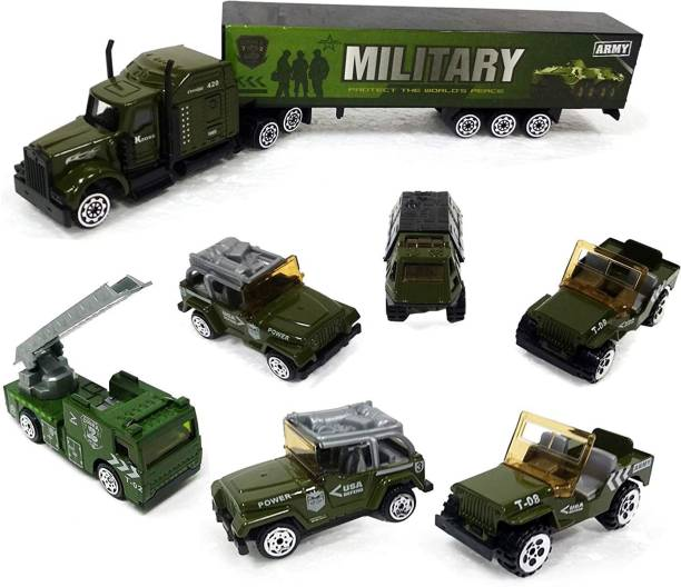 Amartex vehicle set die cast army vehicle play set, metal military vehicle toy (7 pieces set), nation educational toy army cargo truck container, battalion jeep, army tank, fire truck-Multi color