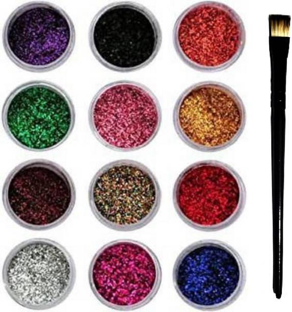 ShopCircuit Eye Shadow Glitter Powder Set And Nail Art Decoration with Eyeshadow Brush