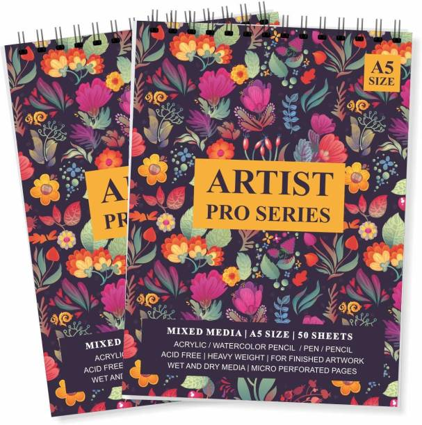 LADECOR Artist Sketch Book 100 Pages (50 Sheets) Perforated Craft Drawing Book, Pack of 2 (Purple, A5 - Small pk of 2) Sketch Pad