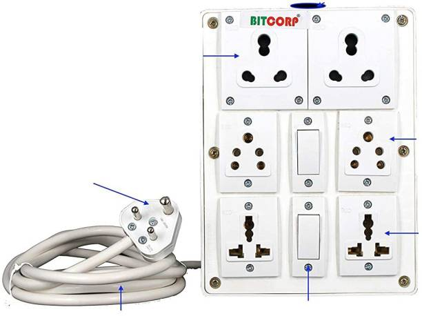 BITCORP Extension Board 6A 15A 16A 6 Socket 4 Switch 8 Meter 1.5 mm Long Wire Cable Cord With 6 Amp Small Plug 6  Socket Extension Boards