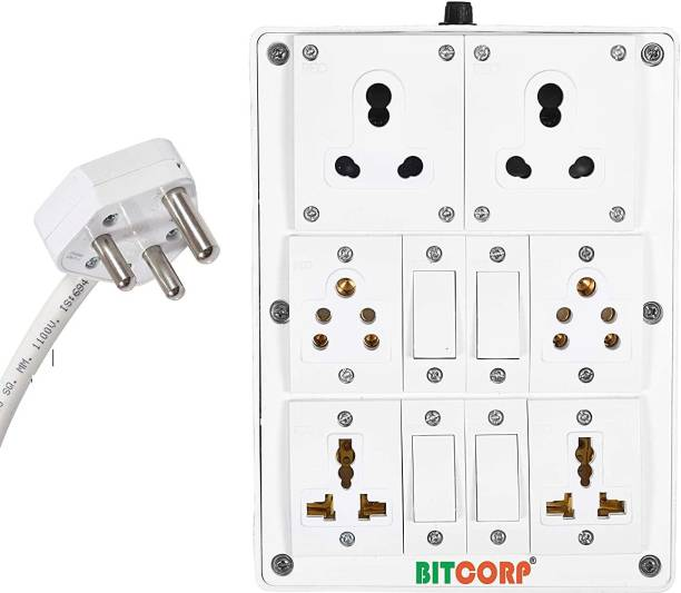 BITCORP Extension Board 6A 15A 16A 6 Socket 4 Switch 20 Meter 1.5 mm Long Wire Cable Cord With 6 Amp Small Plug 6  Socket Extension Boards