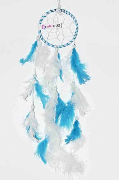 Ashvah Natural Feather Small Dream Catcher Hanging for Cars/Rooms (3 inch) - for Positive Energy and Protection (Blue/White) (Pack of 1) Feather Dream Catcher