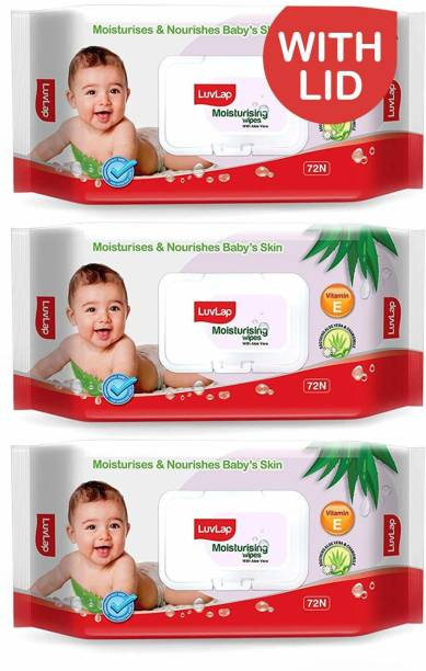 LuvLap Baby Moisturising Wipes with Aloe Vera,72 Wipes/pack, with lid