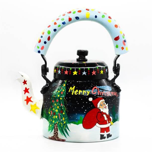 iHandikart Handpainted Designer Decorative Aluminium Tea Kettle For Home & Fastive Decor Christmas Sack
