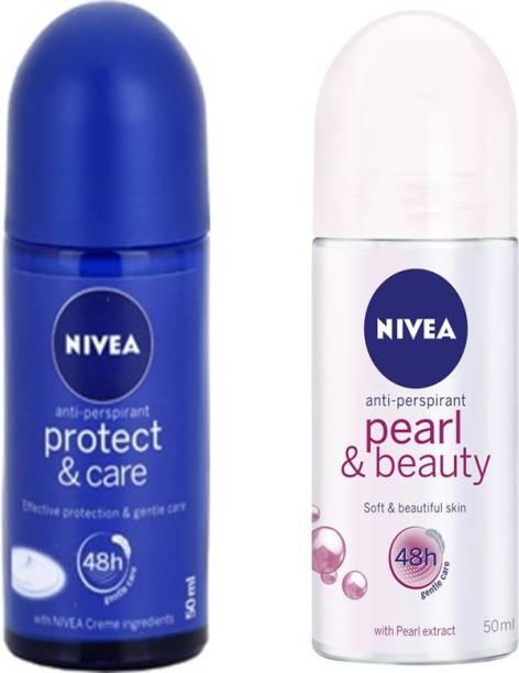 NIVEA PEARL&BEAUTY ROLL ON DEODORANT 50 ML+PROTECT & CARE ROLL ON DEODORANT 50 ML Deodorant Roll-on  -  For Women
