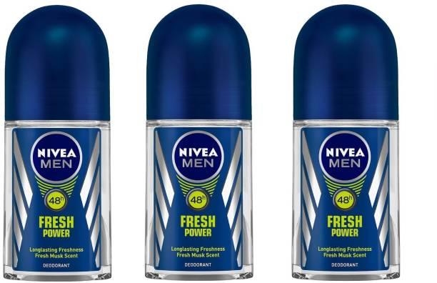 NIVEA Men Fresh Power Deodorant Roll-On 50ML Each (Pack of 3) Deodorant Roll-on  -  For Men