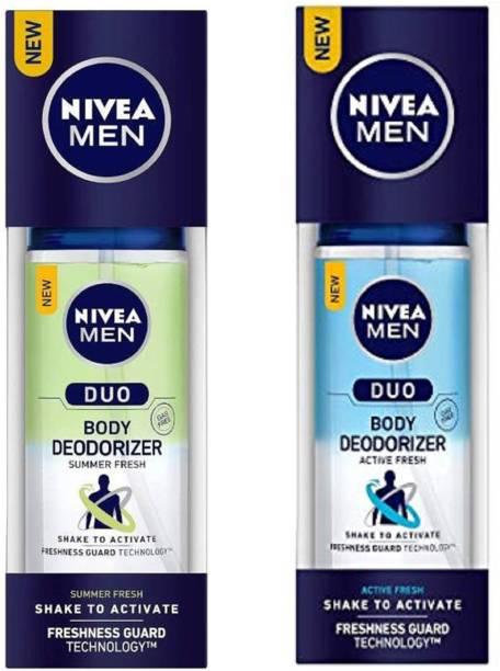 NIVEA Men Duo Active Fresh and Summer Fresh Body Deodorizer 100ML Each (Pack of 2) Deodorant Spray - For Men Body Mist  -  For Men & Women