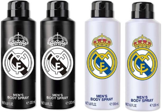 Real Madrid Black & White Deodorant Combo Pack Of 4 Deodorant Spray  -  For Men