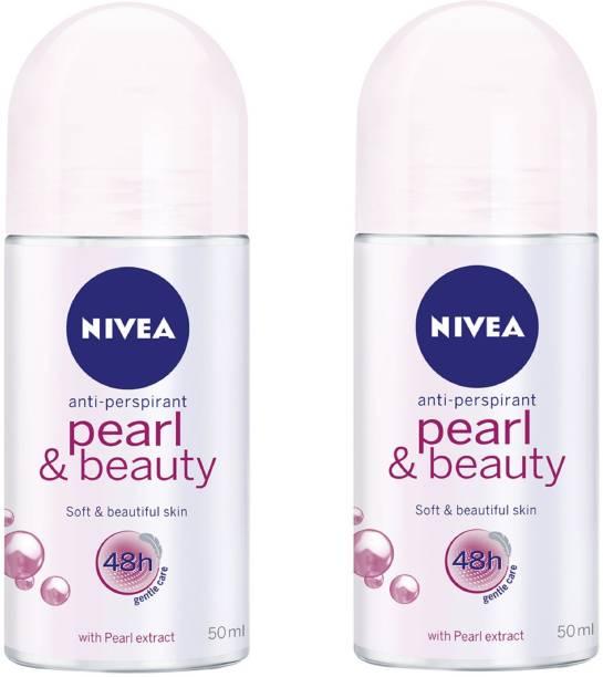 NIVEA Women Pearl & Beauty Deodorant Roll-On 50ML Each (Pack of 2) Deodorant Roll-on  -  For Women