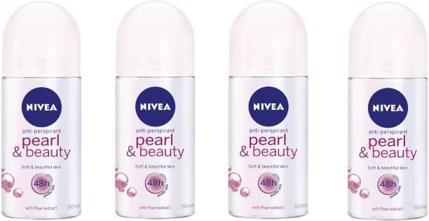 NIVEA Women Pearl and Beauty Deodorant Roll-On 50ML Each (Pack of 4) Deodorant Roll-on  -  For Women