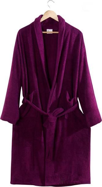 Cotton Trendy Purple Free Size Bath Robe