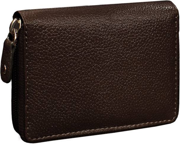 ABYS Genuine Leather Men Wallet  ATM Card Case  Money Purse  Card Holder with Zip Closure (Brown) 10 Card Holder
