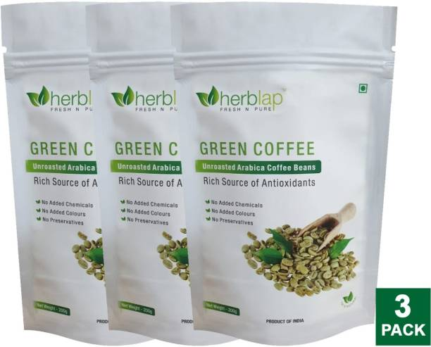 herblap ORGANIC Green Coffee Beans Your Natural Immunity Booster and Weight Loss Partner: 3 X 200 G Coffee Beans