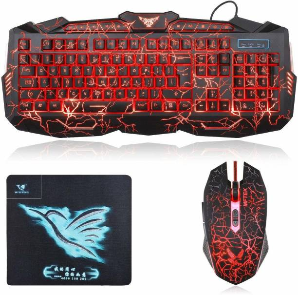 MFTEK Gaming Keyboard , LED Mouse and Mouse Pad Combo , Crack 3 Colors OF LED Backlit USB Wired Keyboard, Programmable 7 Button Lighted Gaming Mouse AND Mouse Pad Combo Set