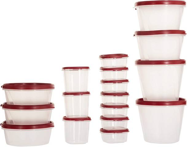 Cutting EDGE (Pack Of 17) (Red) (1000 ML, 750 ML, 500 ML, 250 ML, 125 ML Each) Modular Design BPA-Free, Air Tight, Kitchen Storage Plastic Container  - 6625 ml Plastic Grocery Container