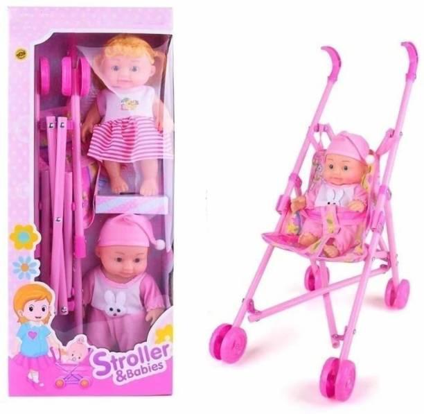 Dherik Tradworld 2 Baby Doll Stroller Foldable Baby Pram Trolley with Doll for Girls