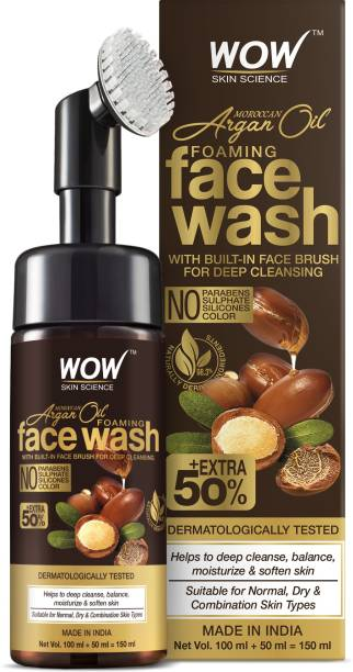 WOW SKIN SCIENCE Moroccan Argan Oil Foaming  with Built-in Brush - contains Argan Oil & Aloe Extracts - for Dry to Normal Skin - No Parabens, Sulphate, Silicones & Synthetic Color - 150mL Face Wash