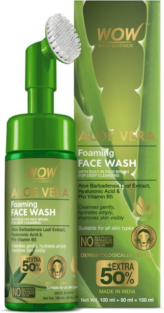 WOW SKIN SCIENCE Aloe Vera Foaming  with Built-In Face Brush for deep cleansing - No Parabens, Sulphate, Silicones & Color - 150mL Face Wash