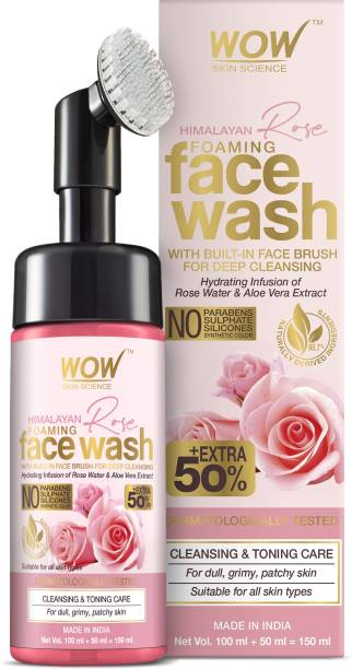 WOW SKIN SCIENCE Himalayan Rose Foaming  with Built-in Face Brush - contains Rose Water & Aloe Vera Extract - for Cleansing & Toning - No Parabens, Sulphate, Silicones & Synthetic Color - 150mL Face Wash