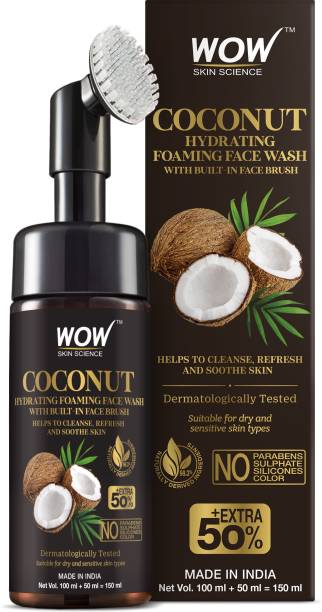 WOW SKIN SCIENCE Coconut Hydrating Foaming  with Built-In Face Brush - with Coconut Water - For Cleansing, Soothing Skin - No Parabens, Sulphate, Silicones & Color - 150 ml Face Wash