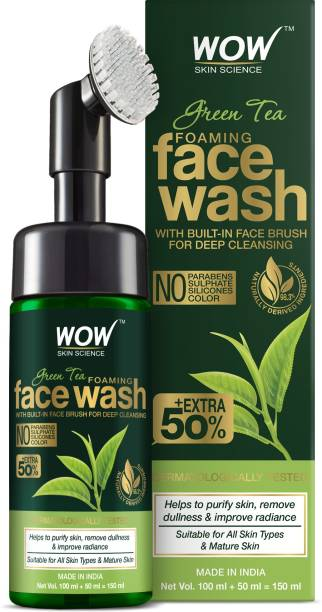 WOW SKIN SCIENCE Green Tea Foaming  with Built-In Face Brush - With Green Tea & Aloe Vera Extract - For Purifying Skin, Improving Radiance - No Parabens, Sulphate, Silicones & Color - 150 ml Face Wash