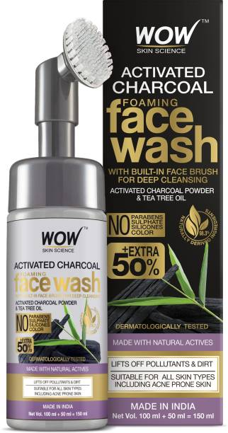 WOW SKIN SCIENCE Charcoal Foaming  with Built-In Face Brush for deep cleansing - No Parabens, Sulphate, Silicones & Color - 150mL Face Wash