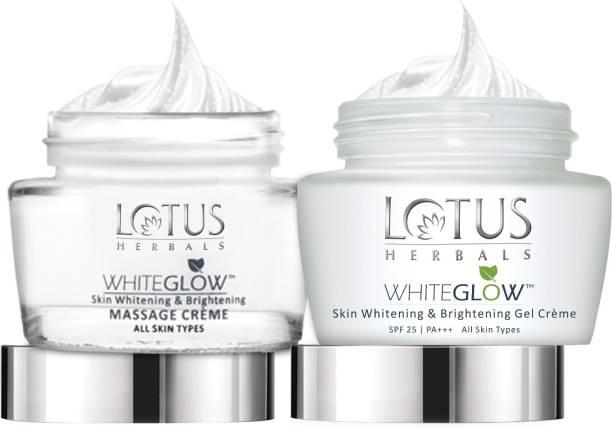 LOTUS Herbals White Glow Skin Whitening & Brightening Massage Creme 60 g and White Glow Skin Whitening & Brightening Gel Cream 60 g