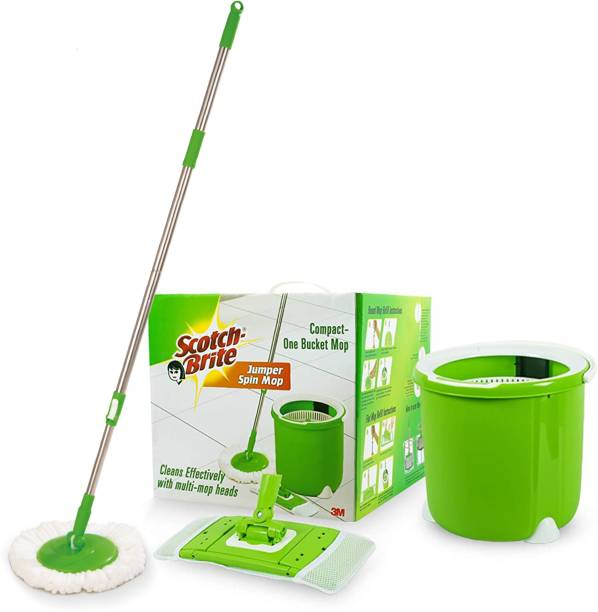 Scotch-Brite Jumper Spin with Round and Flat Refill Heads Mop