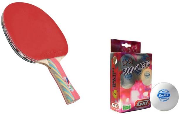 GKI Kungfu DX T.T racket with Euro Plastic 2 star T.T ball ( 6 Balls) Table Tennis Kit