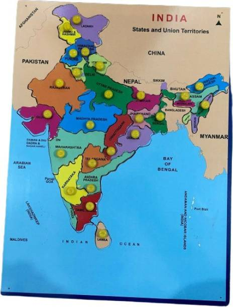DawnRays Large Size Wooden Map of India Puzzle Map With States & Capital of India Map Wooden Jigsaw Puzzle for Kids Educational Learning Block Toys for Kids, Toddler, Preschoolers (Above 5 Years¬)