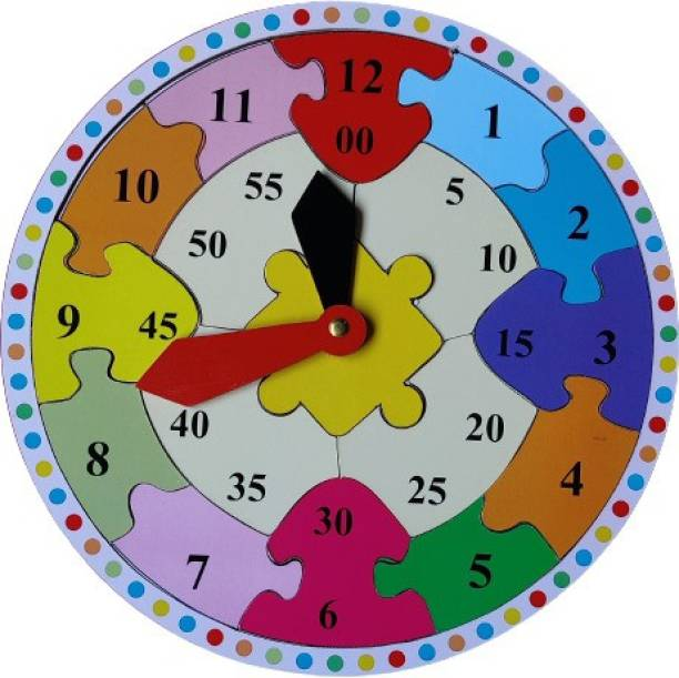 DawnRays Wooden Learning Clock Teach Time-Reading, Story-Telling, Numbers and Colours – Jigsaw Puzzle Early Learning Toy for Pre-School Kids and Toddlers Wooden Toy Clock