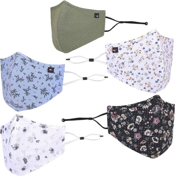 COBB 100% Cotton- Protective Fashionable Mask, with Nose Pin , Comfortable Fit, Soft & Adjustable Ear Loops and Beads with Head Loop Converter , Anti-virus and Antibacterial Fabric. (Unisex, Free-size , Reusable, Multi colour, Pack of 5) Designer Printed Face Mask MSOLC2 (Pack of 5) Reusable, Washable Cloth Mask With Melt Blown Fabric Layer