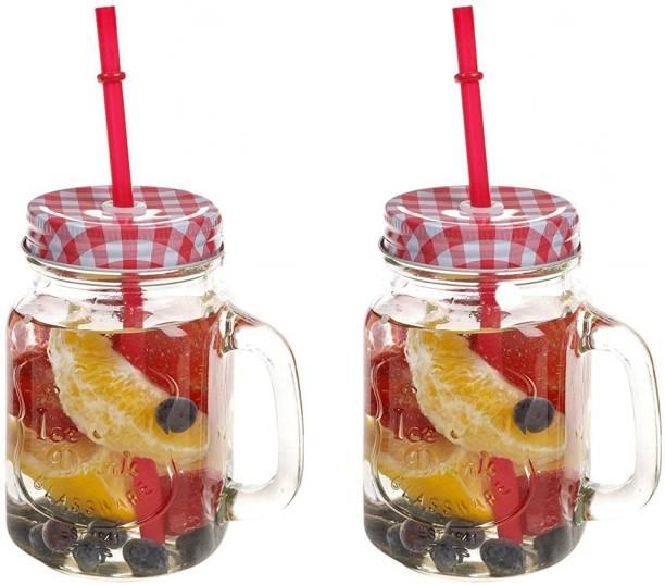 Kieana Colorful Mason Jar/ Glass Designer Mason Jars With Handle / Jar For Milk, Juice, Coffee , Shakes / Birthday Gift / Return Gift / Latest Design-(Pack of 2) Glass Mason Jar