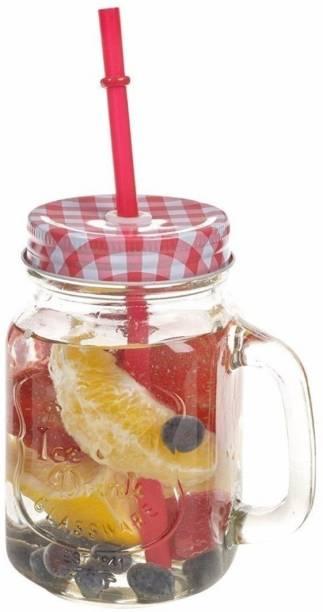 Kieana Colorful Mason Jar/ Glass Designer Mason Jars With Handle / Jar For Milk, Juice, Coffee , Shakes / Birthday Gift / Return Gift / Latest Design-Set of 1 Glass Mason Jar