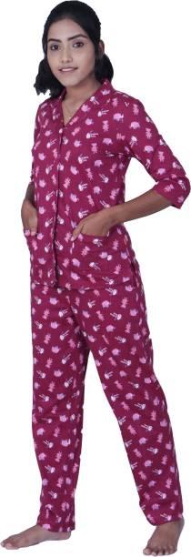 Lazy Days Women Printed Multicolor Shirt & Pyjama set
