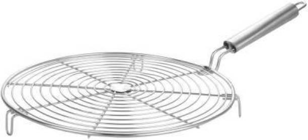 POGON Stainless Steel Small Round Shape Roaster Grill for Gas | Stainless Steel Jali Roti, Roaster Paneer Tandoor Net, Diameter-20 cm (Silver) 1 kg Roaster