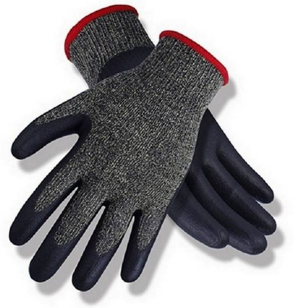 RBGIIT Cut Restitance Cheamical Water Heat Electric Shoot Proof Non Cutting Rubber Safety Gloves In Contruction Steel Wooden Labour Motor Bike Reparing Packing Worker Safety Hand Gloves AS166 Nylon  Safety Gloves